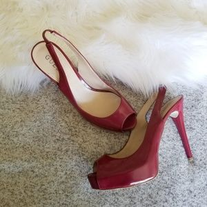 GUESS Red Peep Toe Pumps